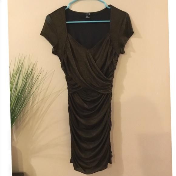 Ruched black dress forever 21